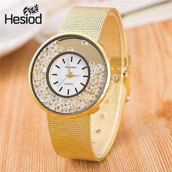 Silver Gold Plated Metal Mesh Band Watch Elegant Crystal Wristwatch For Women 2017 Hot Watches Full Crystal Luxury
