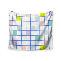 "Vasare Nar ""Pastel Windowpane Grid"" Multicolor White Wall Tapestry"