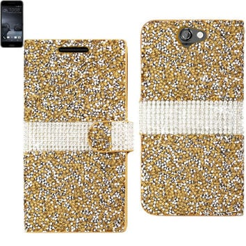 BLING Diamond Flip Case HTC One A9 GOLD