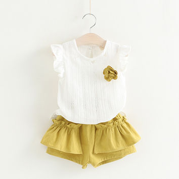 2PCS/ Lace White Sleeveless Top+ Comfy Tutu Skirt Summer Outfit for Toddler Girls Dress