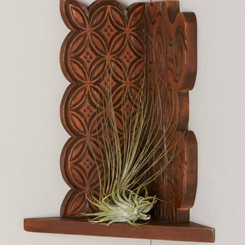 Carved Mahogany Corner Shelf