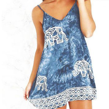 Tie Dye Elephant Print Dress