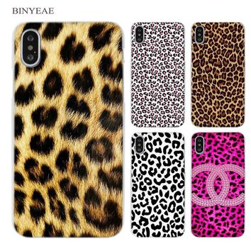 BINYEAE leopard print Clear Cell Phone Case Cover for Apple iPhone X 4 4s 5 5s SE 5c 6 6s 7 8 Plus