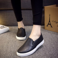 High quality new fashion style women autumn spring casual PU leather slip on shoes woman espadrilles