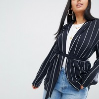 PrettyLittleThing Pinstripe Belted Blazer at asos.com
