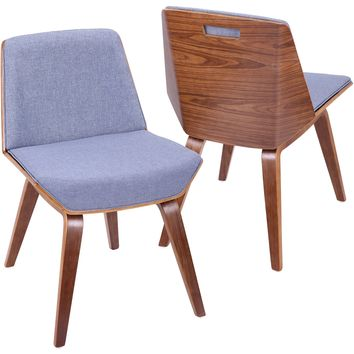 Corazza Mid-Century Modern Accent / Dining Chair with Blue Fabric, Walnut