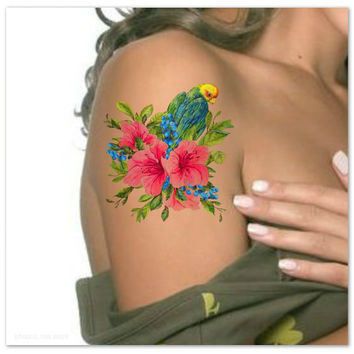 Temporary Tattoo Flower and Bird Waterproof Fake Tattoos Thin Durable