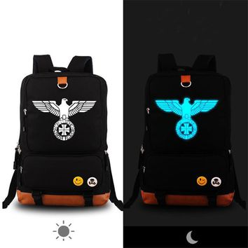 High Quality German Army Military Iron Cross Eagle Printing Backpack Boy London Fashion Backpack School Bags for Teenagers
