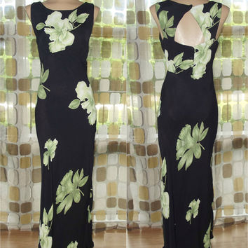 Vintage 90s Dress | 1990s Bias Gown | Retro 1930s | Black White Green Floral Rayon | Jean Harlow Gown | Flapper Gatsby | Nostalgia | Sz M/L