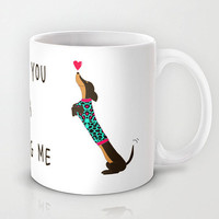 Personalized mug cup designed PinkMugNY- Wearing reopard print dachshund -Blue