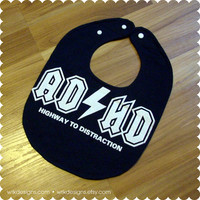 ADHD - Funny ACDC Music - Recycled T-Shirt Bib - Reversible - OOAK - Funny