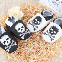 Black and white Skull Punk Rock Genuine Leather Boys Girls Handmade Soft Leather Shoes