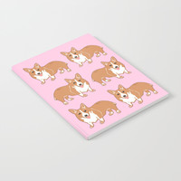 Corgi Pattern Pink Notebook by Artist Abigail