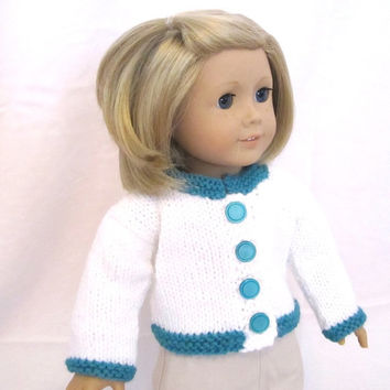 American Girl Doll Sweater Teal White Knit