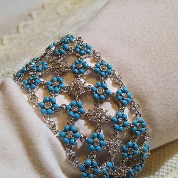 Vintage Victorian 925 Sterling Silver Filigree Persian Turquoise Crystal Statement Bracelet