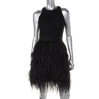 Milly Womens Blair Lace Ostrich Feather Cocktail Dress