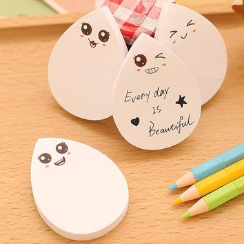 2PCS/LOT GENKKY Stationery cute water droplets shape sticky notes, message stickers, cute smiley face N times paste,note affixed
