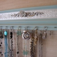 Light Robins Egg Blue Jewelry Organizer . Display Earrings and Necklaces