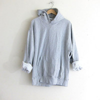 vintage hooded sweatshirt. pullover gray hoodie sweater. size XL
