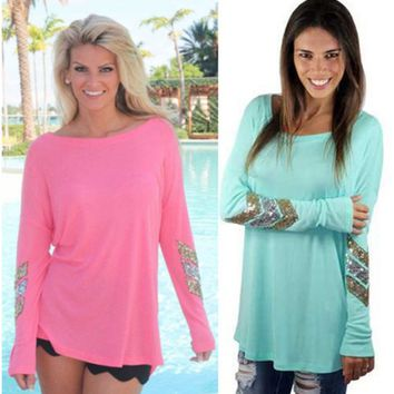 Front Low Back Long Sequin Sleeve T Shirt