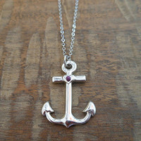 Shiny Silver Anchor Necklace | Candy's Cottage