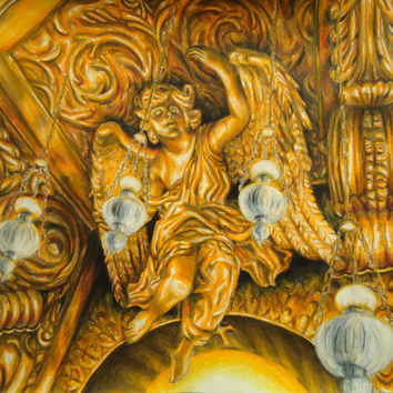 Original Golden Angel - Angel artwork - Baroque - Angel decor - Wall decor - Home decor - Rome Angel - Religious art - One of a kind - Art