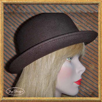Redesigned Women's Vintage Wool Bowler / Derby Hat
