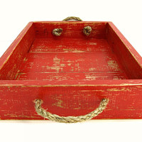 Painted Red Wooden Tray with Rope Handles - Distressed Red Ottoman Tray - Weathered Red Serving Tray - Coffee Table Tray, Dining Table Tray