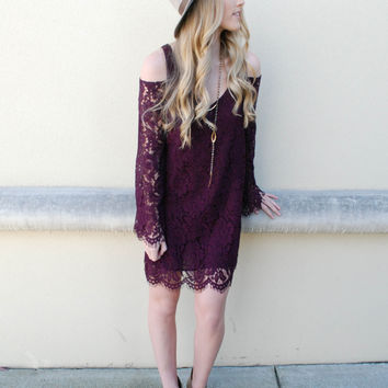 Chaser - Cold Shoulder Lace Dress - Cabernet