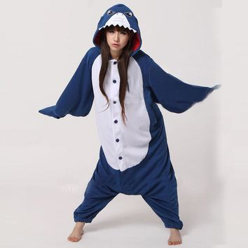 Cosplay Pajamas Unisex Adult Cosplay Costume Anime Animal Onesuit Size Shark Fleece Sleepwear Party Jumpsuits S/M/L/XL