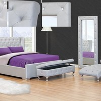 Ashton II silver finish leather like vinyl tufted queen bed frame set with crystal button tufting