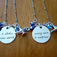 Aladdin Inspired Friendship Necklaces. A Whole New World. Every Turn A Surprise. Aladdin Necklace set of 2. Hand Stamped, Swarovski crystal