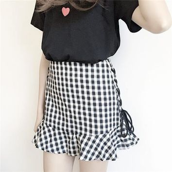 Casual plus size women Plaid A word saia Summer Petticoat Underskirt Harajuku kawaii high waist sweet lotus leaf mini skirt . *
