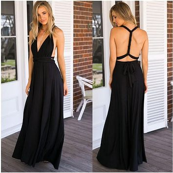 2018NEW Sexy Women Boho Maxi Club Dress Red Bandage Long Dress Party Multiway Bridesmaids Convertible Infinity Robe Longue Femme