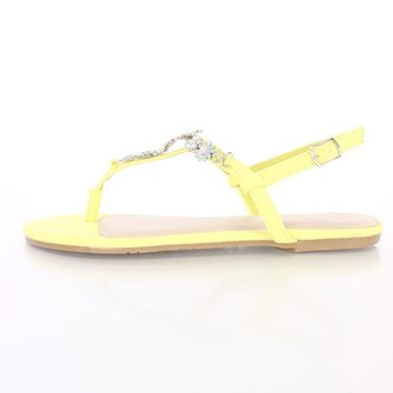 Lemon Floral Accent Thong Sandals Faux Leather