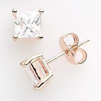 24k Rose Gold Plate Cubic Zirconia Stud Earrings