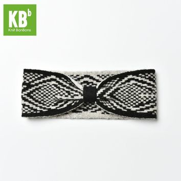 2017 KBB Spring     Winter Comfy Black Gray Knot Checkered Style Lambswool Women Men Children Winter Knit Headband