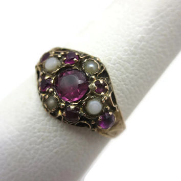 Victorian Garnet Ring - 9k Gold, Antique, Garnet, Seed Pearl Ring, Estate Jewelry, Size 5.25, January Birthstone