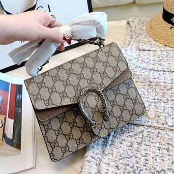 Free shipping : GUCCI Dionysus Tide brand women's high quality tiger head shoulder messenger bag chain small square bag