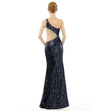 Floor length Long Prom Dresses One shoulder Beaded Gown Sequins lace
