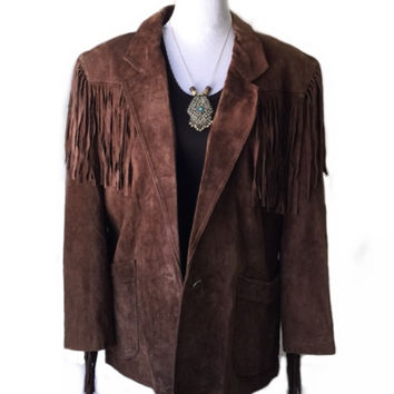 Vintage Winlit Western Cowgirl Suede Leather Fringe Jacket (Small/Indie Brands)