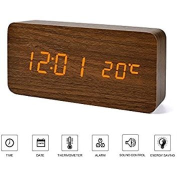 Wooden LED Alarm Clock, TISSA Wood Cube Digital Desk Alarm Clock with 3 Brightness Adjustable, 3 Set of Alarm, Dual Power, Voice Control, Time / Week / Date / Temperature/ Humidity Displaying