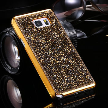 Luxury Fashion Bling Crystal Diamond Chrome Phone Case Cover For Samsung Galaxy Note 5 4 3 S7 Edge Plus S6 Edge Plus S5 S4 S3