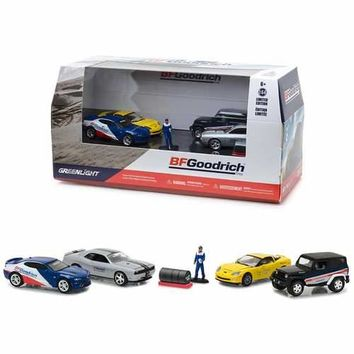BFGoodrich Performance Tire Shop 6 pieces Set Multi Car Diorama with Figurine and Tire Set 1/64 Diecast Model Cars by Greenlight
