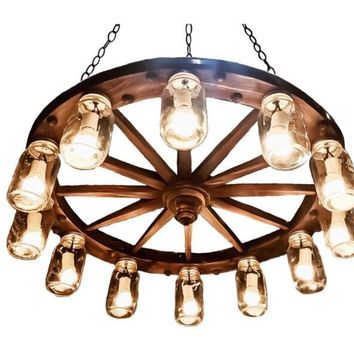 "36"" Knotted, 12 Light,  Wagon Wheel Chandelier.  FREE SHIPPING"