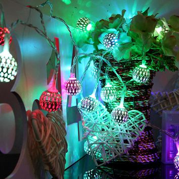 New Moroccan 10 LEDs Filigree Metal Heart Wedding Party Christmas Home Decoration Fairy String Lights for Festival Halloween