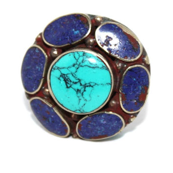 big lapis Tibetan ring