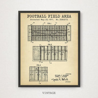 Football Field Poster, Digital Download, Gift For Him, Game Room Decor, Football Vintage Poster, Field Area Illustration, Football Print