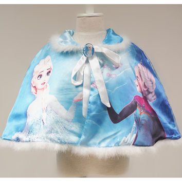 Retail Free Shipping Baby Girl Frozen ELSA ANNA Princess Coat Toddler Children Cartoon Character Shawl Cape Shawl Kids Outerwear