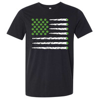 USA Weed Flag Doobie Stripes Asst Colors Mens Fitted Tee